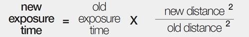 formula for adjusting exposure based on lamp distance